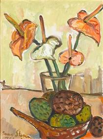 Still life with anthuriums and fruit - Irma Stern