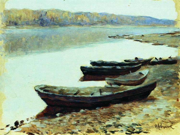 Landscape on Volga. Boats by the Riverbank., 1878 - Isaak Iljitsch Lewitan