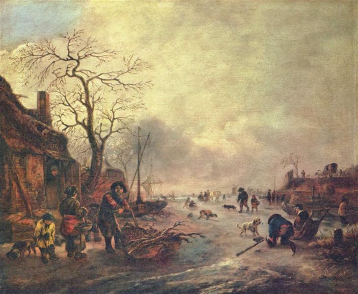 Amusement on the Ice, 1640 - 1645 - Isaac van Ostade