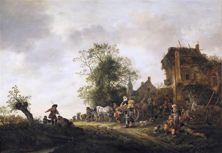 Travellers Outside an Inn, 1645 - Isaac van Ostade