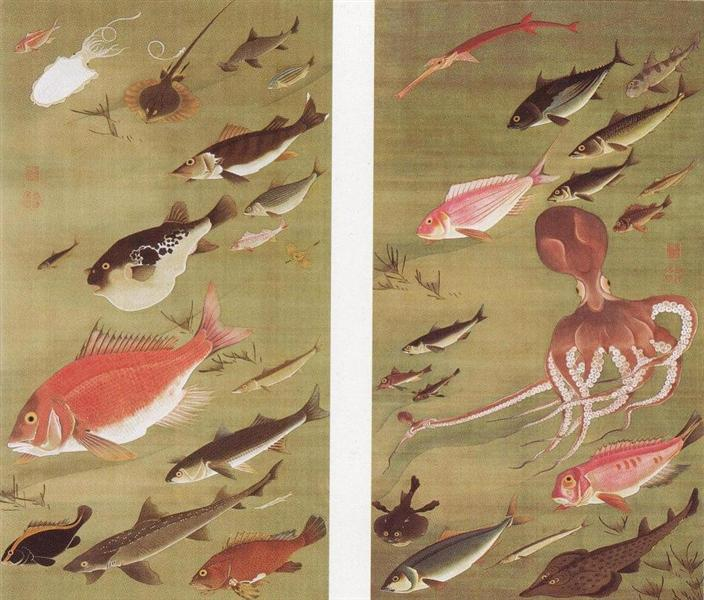 Octopus and Fish, 1760 - Дзякутю Ито