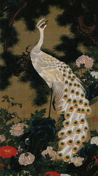 Old Pine Tree and Peacock, 1761 - Дзякутю Ито