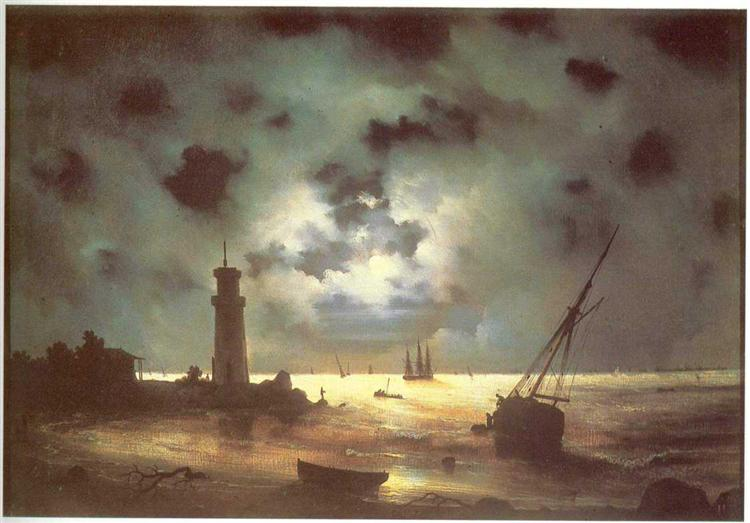 Coast of sea at night, 1847 - Ivan Aivazovsky