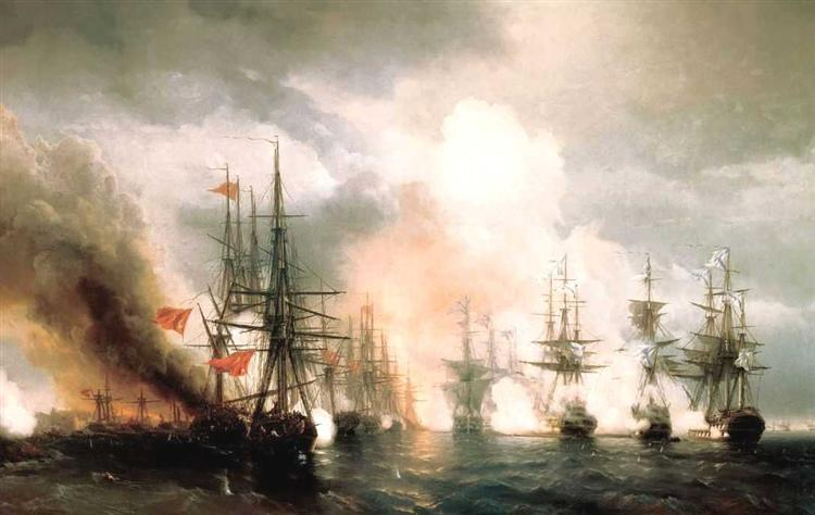 Russian-Turkish Sea Battle of Sinop on 18th November 1853 - Ivan Aïvazovski