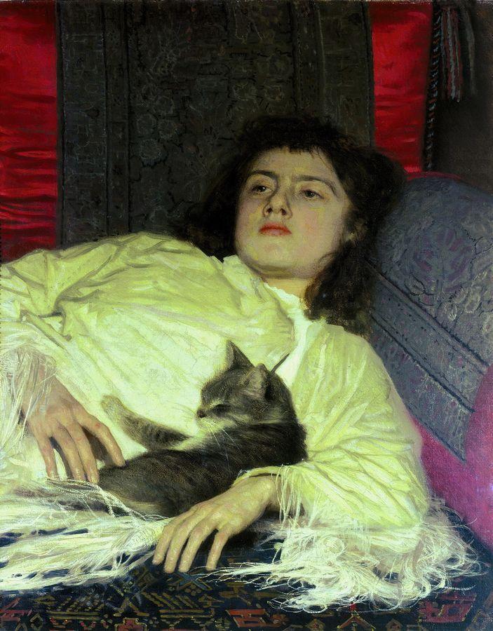 Ivan Kramskoy Girl With Cat