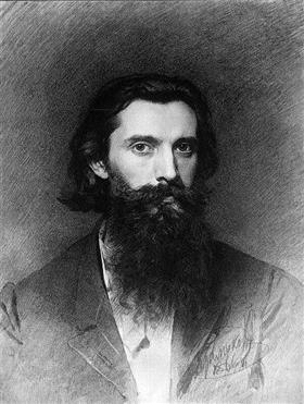Retrato del artista Nikolai Dmitrievich Dmitriev-Orenburg, Ivan Kramskoy