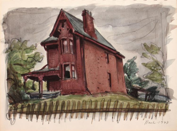 Untitled, Red House, 1943 - Jack Bush
