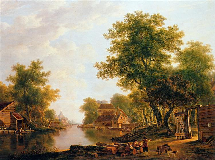 Landscape with river near Dordrecht - Jacob van Strij