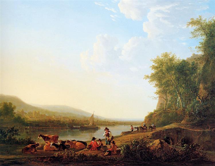 Mountainous riverlandscape - Jacob van Strij