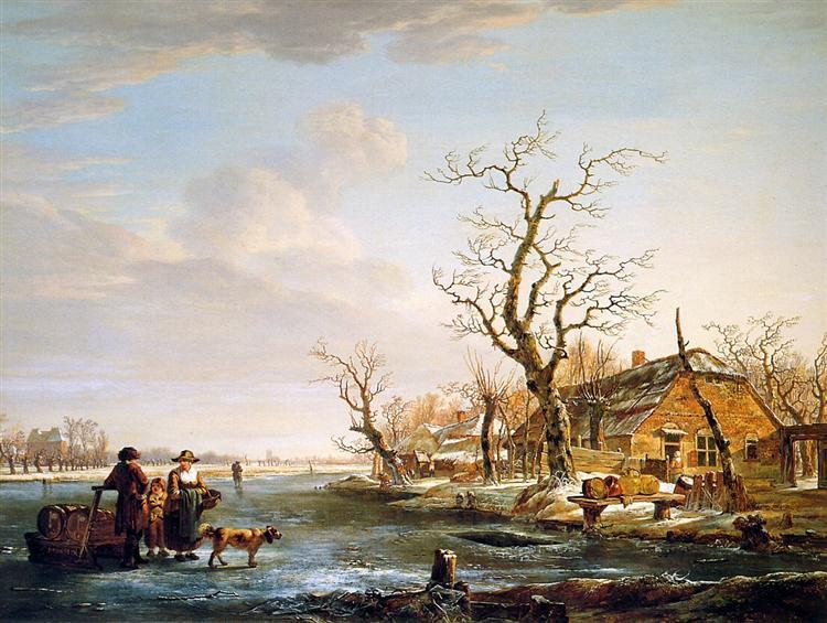 Winter landscape at Drevel - Jacob van Strij