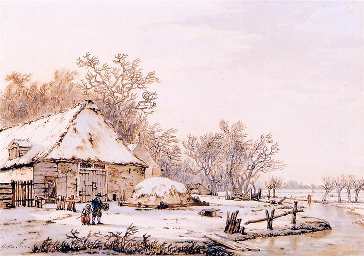 Winter landscape with farm - Jacob van Strij
