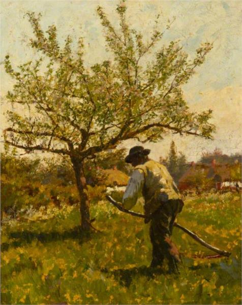 A Man Scything in an Orchard - James Charles