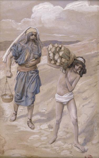 Isaac Bears the Wood for His Sacrifice, c.1896 - c.1902 - James Tissot