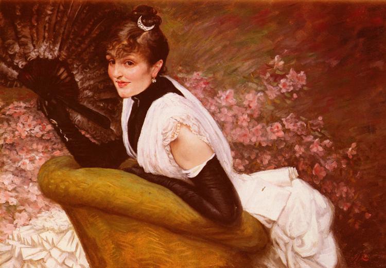 Portrait Of A Lady with a Fan - James Tissot