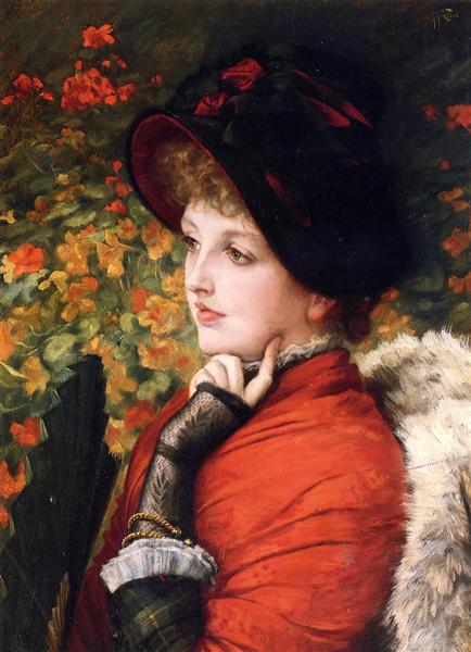 Type of Beauty: Portrait of Mrs. Kathleen Newton in a red dress and black bonnet, 1880 - James Tissot
