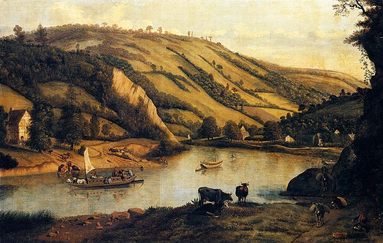 An Extensive River landscape, Probably Derbyshire, With Drovers And Their Cattle In The Foreground, 1698 - Jan Siberechts