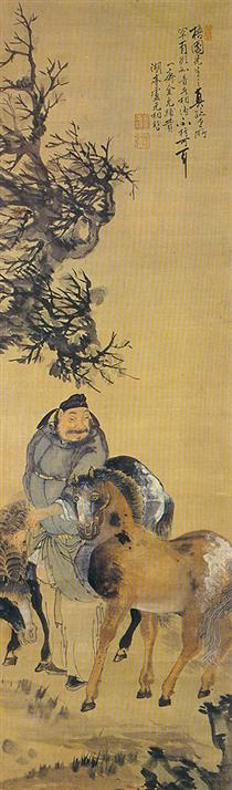 The painting of a man with two horses - Owon