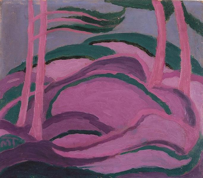Violet Landscape, 1917 - Janos Mattis-Teutsch