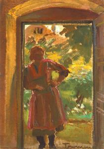 Woman Standing in a Door - Janos Tornyai