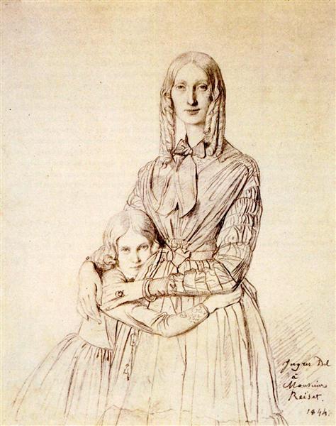 Madame Frederic Reiset, born Augustine Modest Hortense Reiset, and her daughter, Theres Hortense Marie - Jean Auguste Dominique Ingres