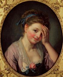 Young Girl with a Rose - Jean-Baptiste Greuze