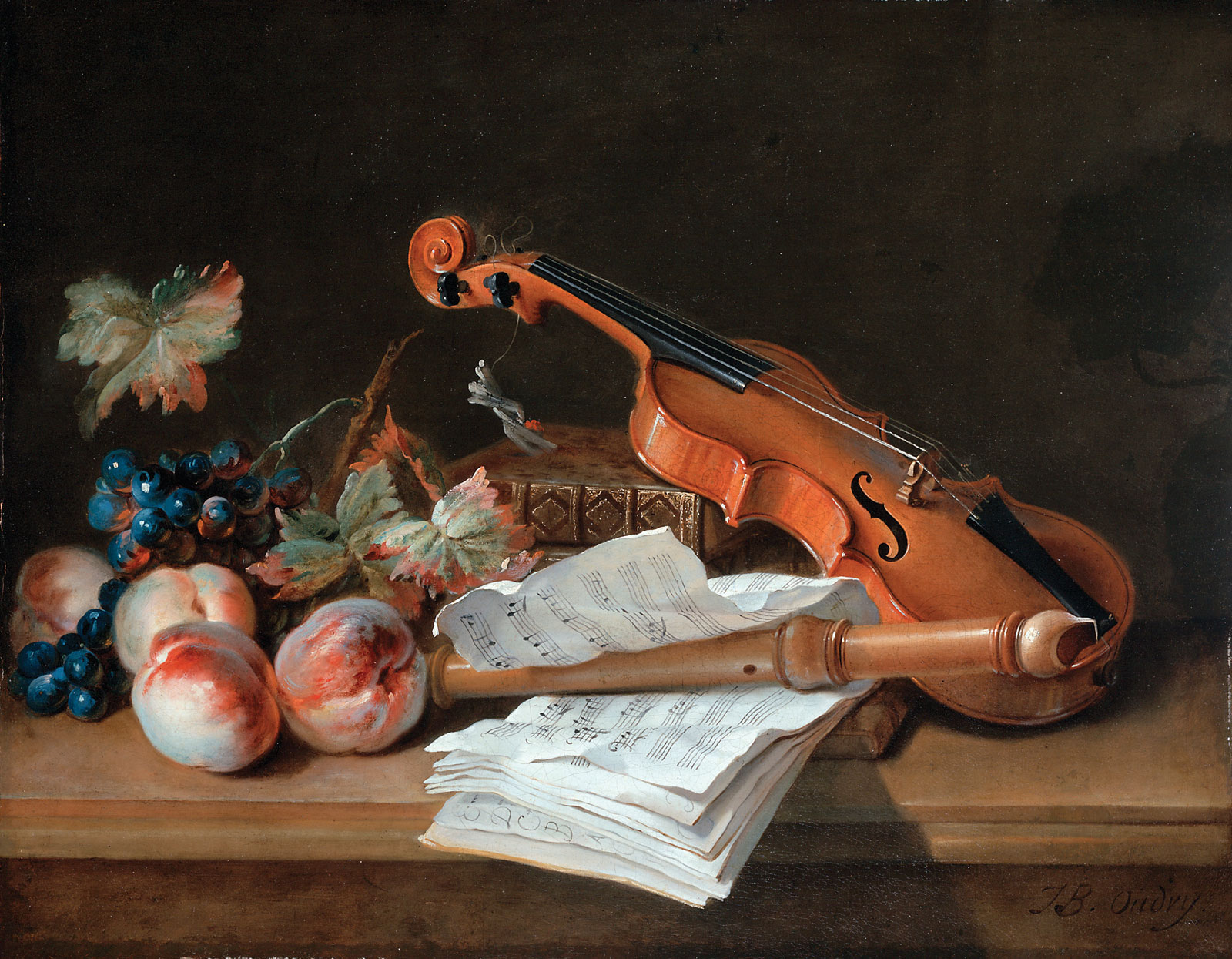 still life with a violin a recorder books a portfolio of sheet of music peaches and grapes. Black Bedroom Furniture Sets. Home Design Ideas