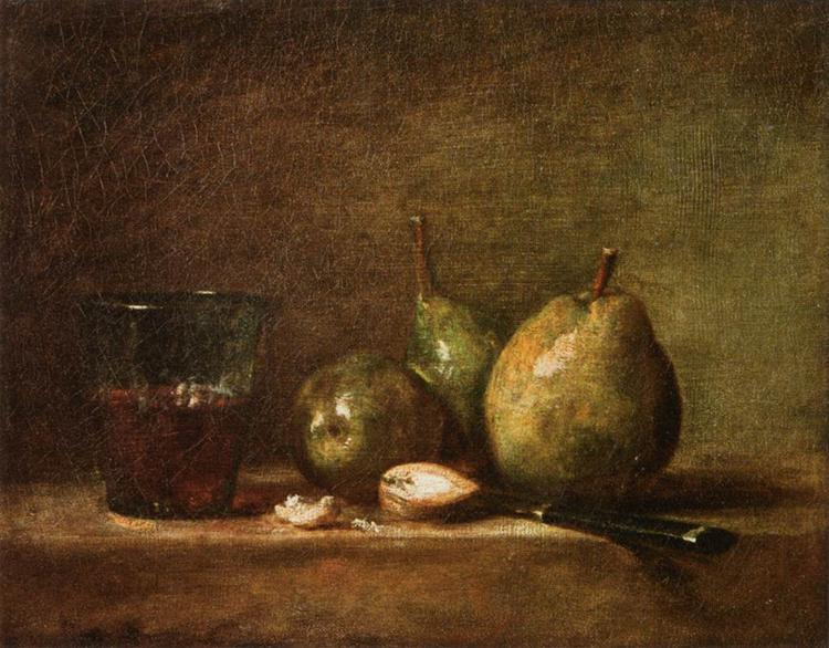 Pears, Walnuts and Glass of Wine, c.1768 - Jean-Baptiste-Simeon Chardin