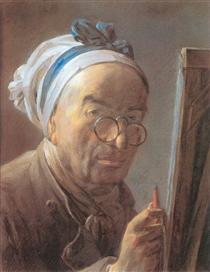 Self-Portrait with an Easel - Jean-Baptiste-Simeon Chardin