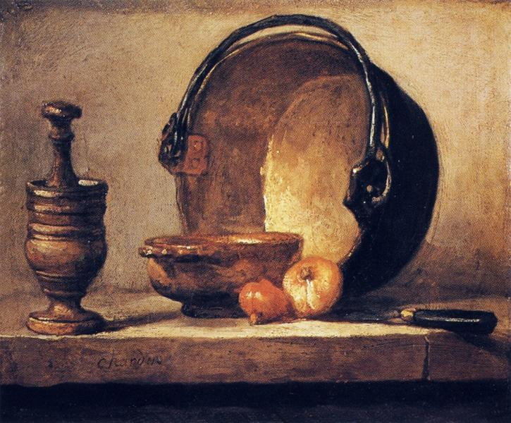 Still Life with Pestle, Bowl, Copper Cauldron, Onions and a Knife, c.1734 - c.1735 - Jean-Baptiste-Simeon Chardin