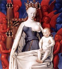 Madonna and Child. Left Panel of Diptych de Melun - Jean Fouquet