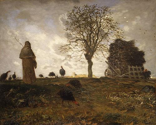 Autumn landscape with a flock of Turkeys, c.1873 - Jean-Francois Millet