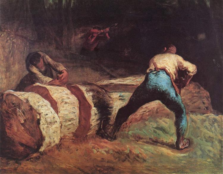 The Wood Sawyers, 1850-1852 - Jean-Francois Millet