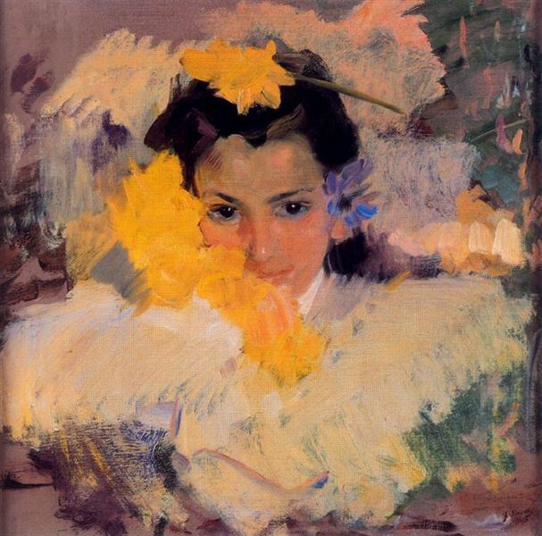 Girl with flowers - Joaquín Sorolla y Bastida