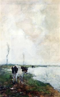 A Cow Standing By The Waterside In A Polder - Johan Hendrik Weissenbruch