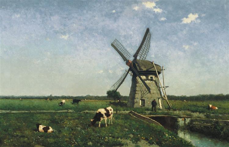 Landscape with windmill near Schiedam, 1873 - Johan Hendrik Weissenbruch