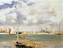 Ships in harbour - Johan Hendrik Weissenbruch