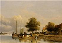 Townsfolk on a quay, Wijk Bij Duursrede - Johan Hendrik Weissenbruch