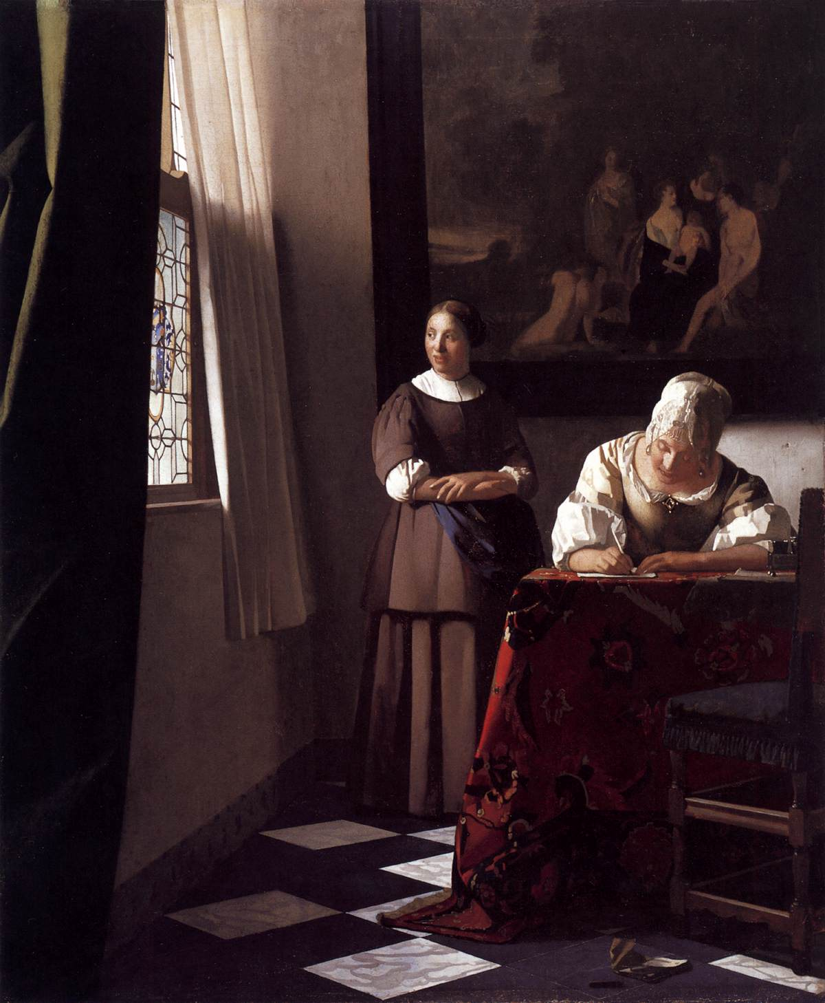 Lady Writing a Letter with Her Maid - Johannes Vermeer - WikiArt.org ...