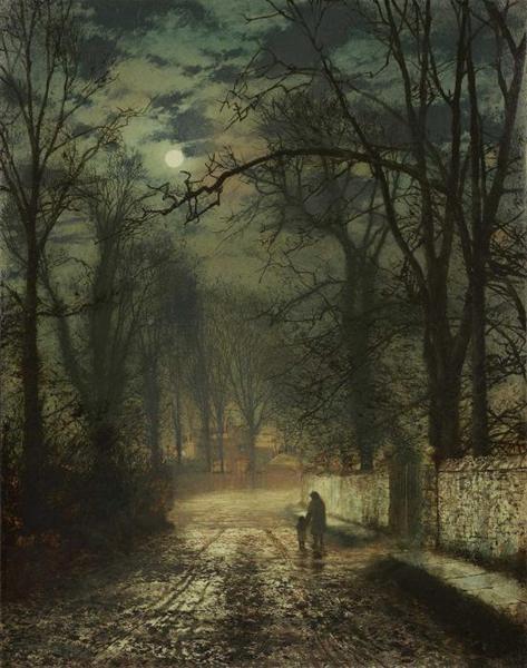 A moonlit lane - Grimshaw John Atkinson