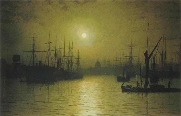 Nightfall on the Thames, 1880 - John Atkinson Grimshaw