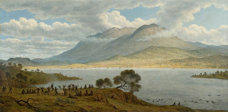 Mount Wellington and Hobart Town from Kangaroo Point, 1834 - Джон Гловер
