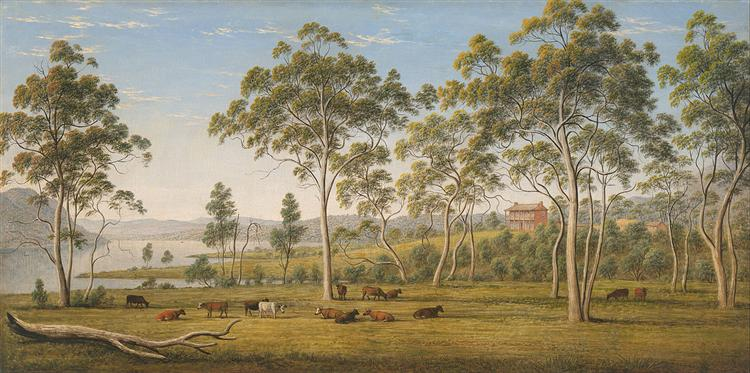 Mr Robinson's house on the Derwent, Van Diemen's Land - John Glover