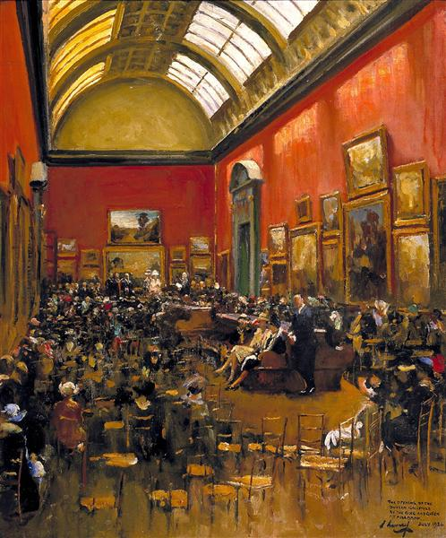 King George V, Accompanied by Queen Mary, at the Opening of the Modern Foreign and Sargent Galleries at the Tate Gallery, 26 June 1926, 1926 - John Lavery