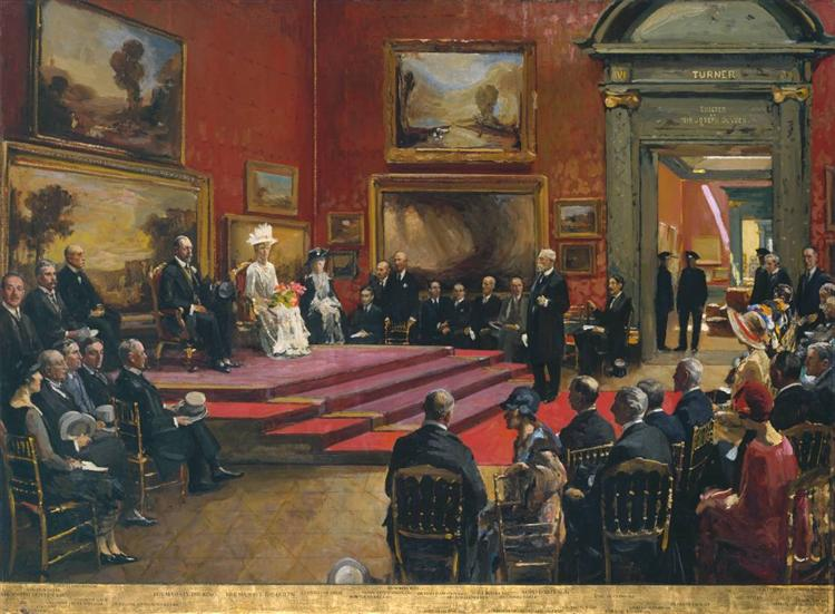 The Opening of the Modern Foreign and Sargent Galleries at the Tate Gallery, 26 June 1926, 1926 - John Lavery