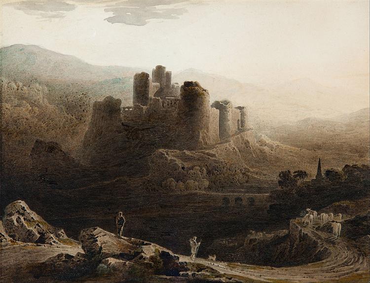 Moonlight - Chepstow Castle, 1815 - John Martin