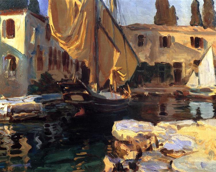 San Vigilio. A Boat with Golden Sail, 1913 - John Singer Sargent