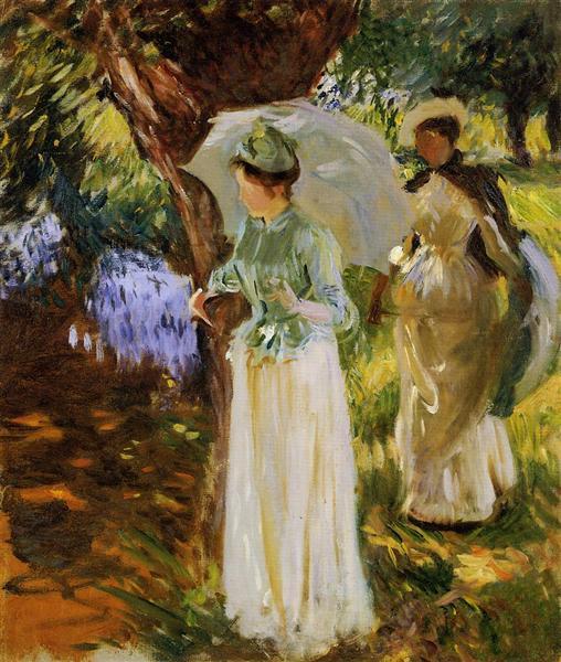 Two Girls with Parasols at Fladbury, 1889 - John Singer Sargent