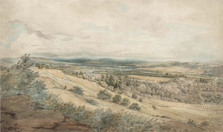 View of Bodenham and the Malvern Hills, Herefordshire, 1801 - Джон Варли