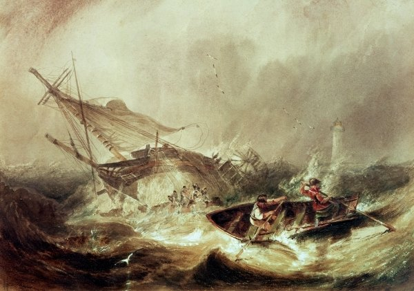 Rowing to rescue shipwrecked sailors off the Northumberland Coast - John Wilson Carmichael