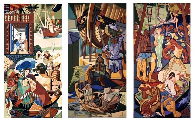 A Sunday in Lisbon, tapestry - Almada Negreiros